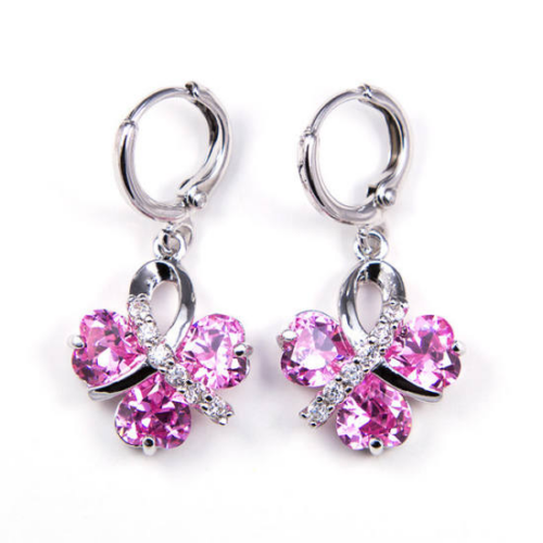 Polly Swarovski kristályos fülbevaló -Rózsaszín