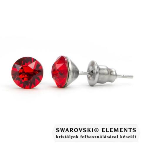 Jazzy piros SWAROVSKI® kristályos fülbevaló  Aries  - Light Siam Kerek