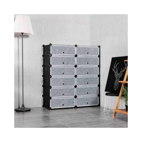 Műanyag elemes cipőtároló szekrény - fekete
