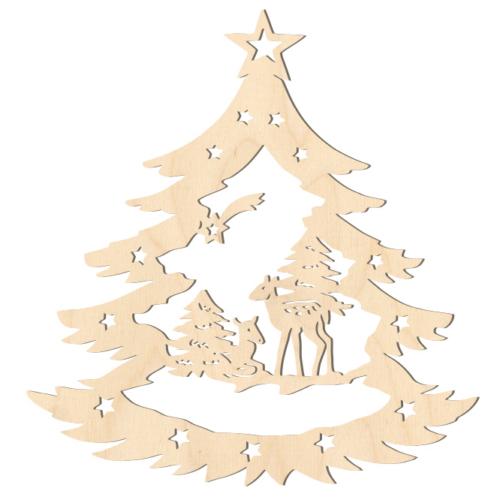 Fa karácsonyfadísz – Fenyőfa őzikékkel