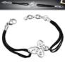 Kép 1/2 - Fekete kaucsuk karkötő, ezüst színű, pillangó formájú nemesacél dísszel