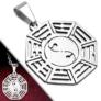 Kép 1/2 - Ezüst színű, nyolc szögletes nemesacél medál Ying-Yang mintával
