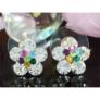 Kép 4/4 - Swarovski kristályos fülbevaló színes virág