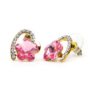 Kép 1/4 - Dina Swarovski kristályos fülbevaló - Rózsaszín virág arany szívben