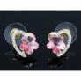 Kép 3/4 - Dina Swarovski kristályos fülbevaló - Rózsaszín virág arany szívben