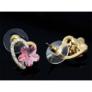 Kép 4/4 - Dina Swarovski kristályos fülbevaló - Rózsaszín virág arany szívben
