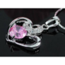 Kép 3/4 - Nyaklánc Swarovski kristályos rózsaszin köves szives medállal