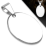 Kép 1/2 - Ezüst színű, ovális formájú gravírozható  nemesacél medál